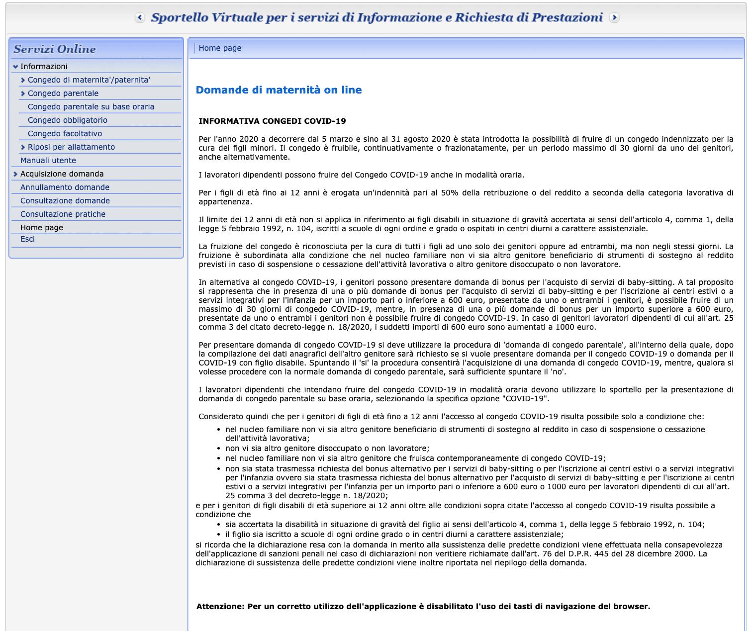 Tata - richiesta congedo parentale